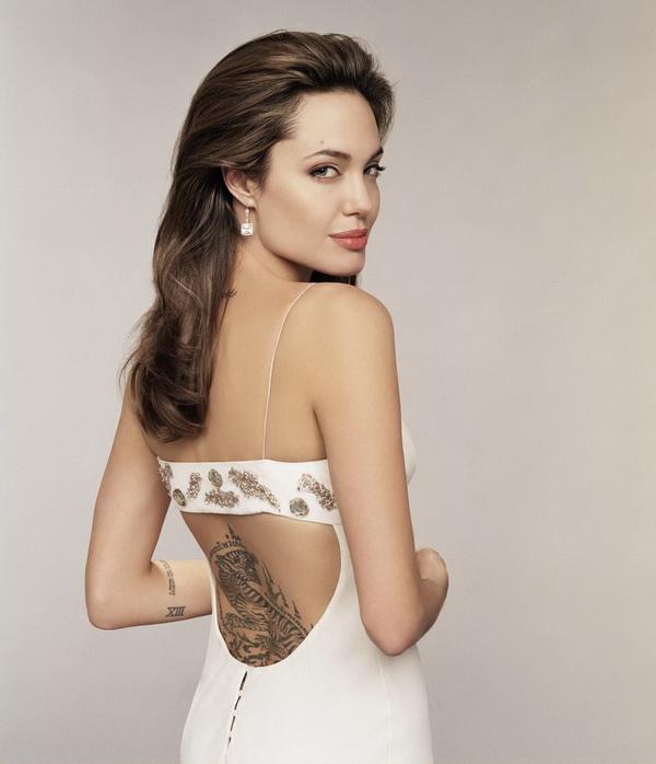 Angelina Jolie Back Tattoo