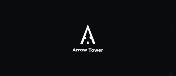 letter a logo arrow tower