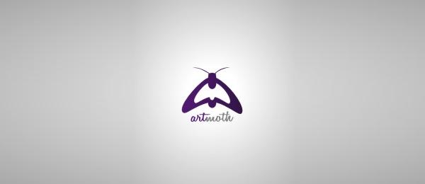 letter a logo art moth