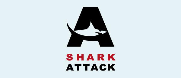 letter a logo shark attack