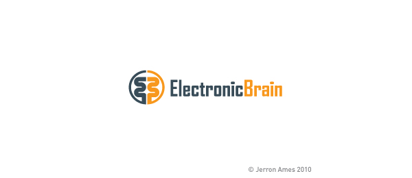 letter b logo electronic brain