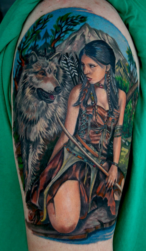 native american indian girl tattoo 01