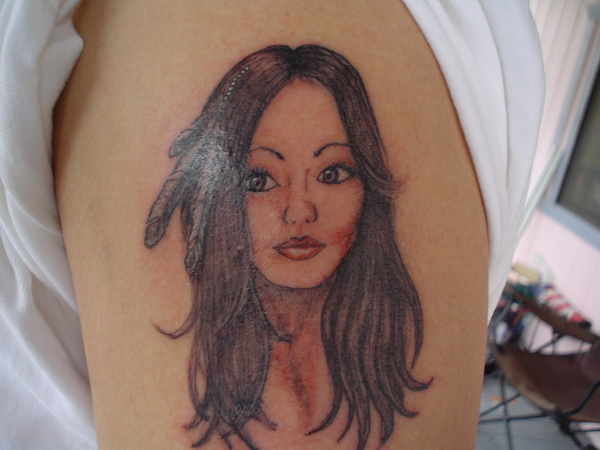 native american indian girl tattoo 02