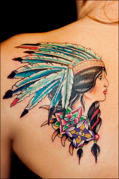 native american indian girl tattoo 07