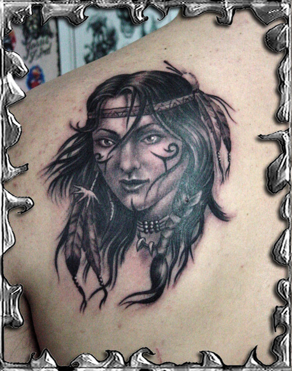 native american indian girl tattoo 13