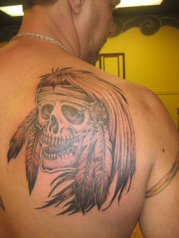 native american skull tattoo