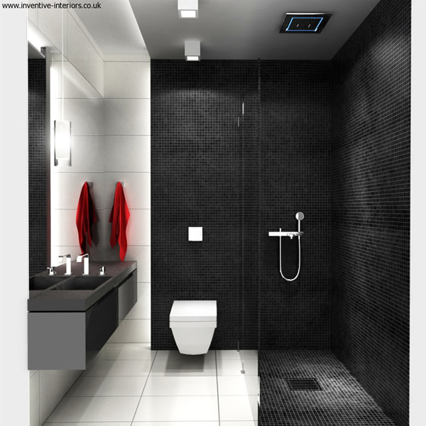 Great Black And White Small Bathroom Interior Design Photo