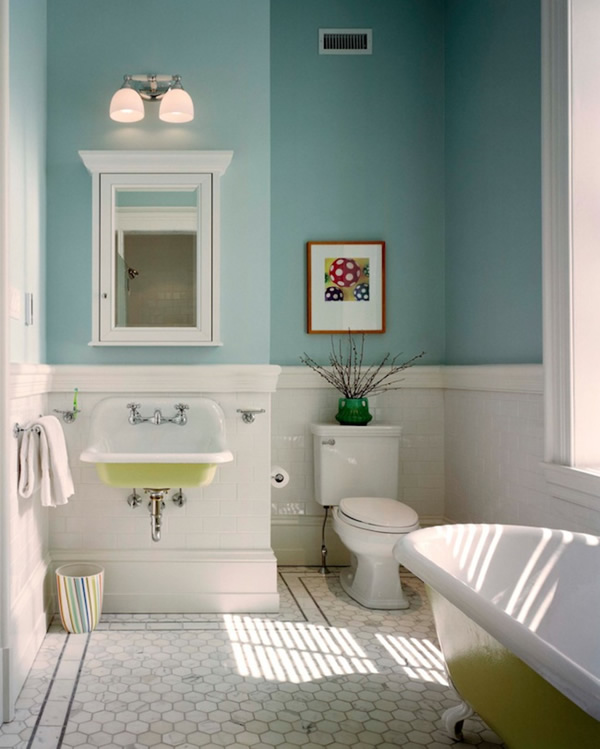 blue and white small bathroom design