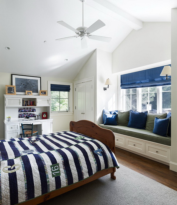 blue and white traditional boys bedroom by taylor lombardo architects