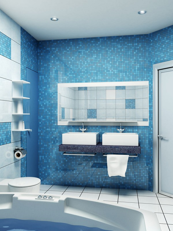 Incroyable Blue Small Bathroom Design