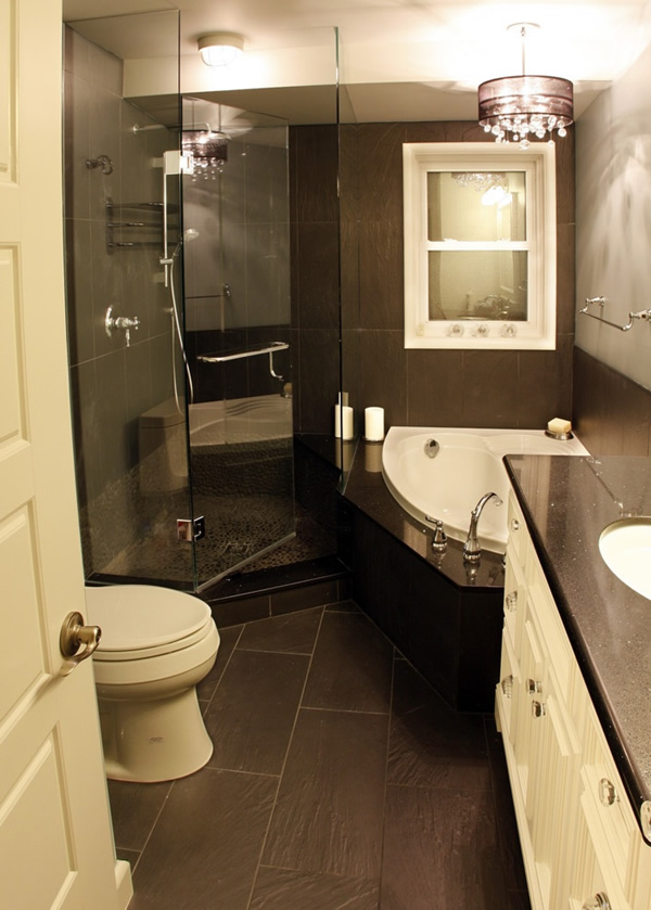 Compact Dark Bathroom Design