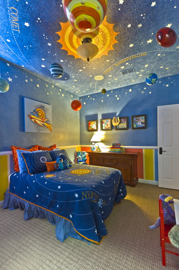 Great Contemporary Boys Bedroom Solar System Decoration By Hobus Homes