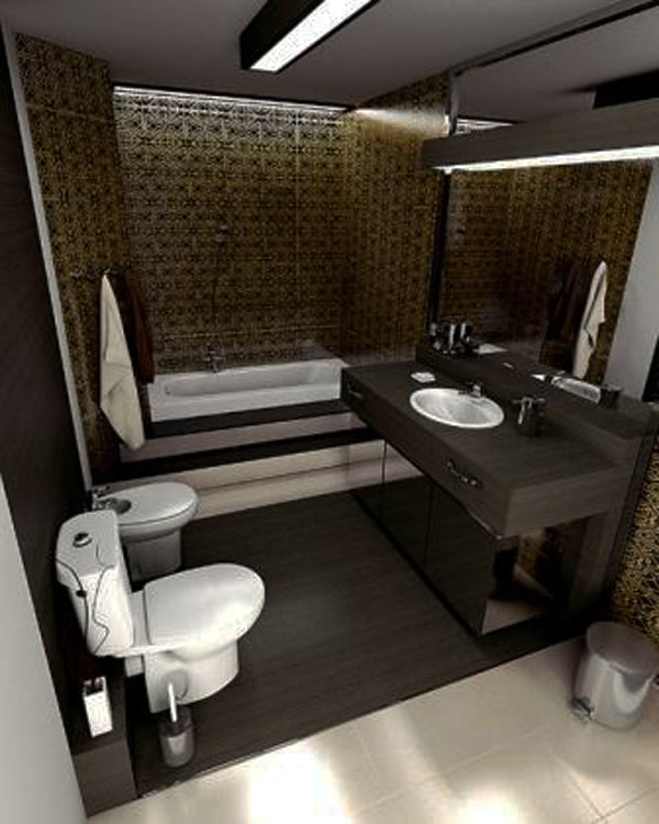 Dark Color Small Bathroom Interior Design : small-bathroom-interior-design - designwebi.com