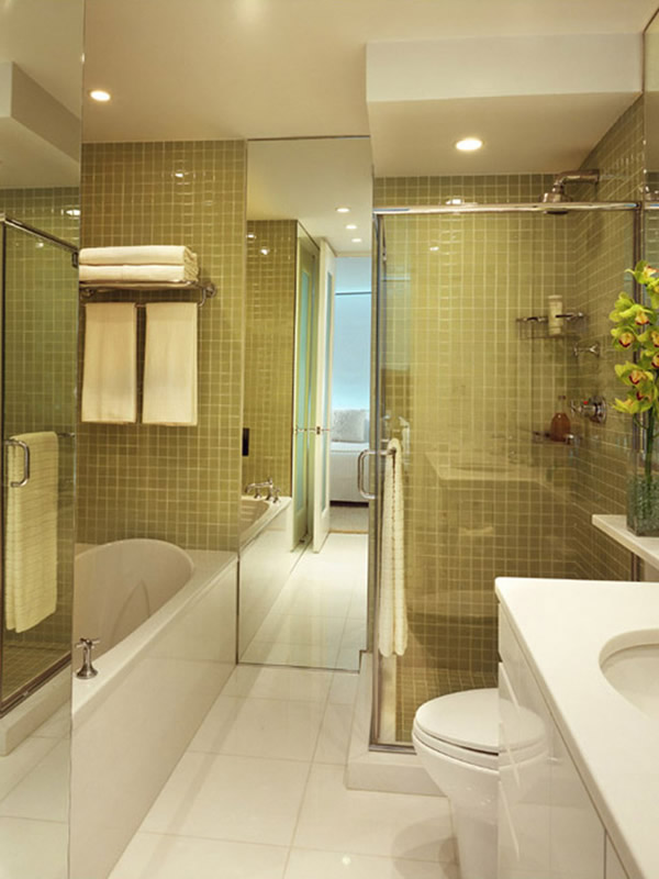 Golden Small Bathroom Design