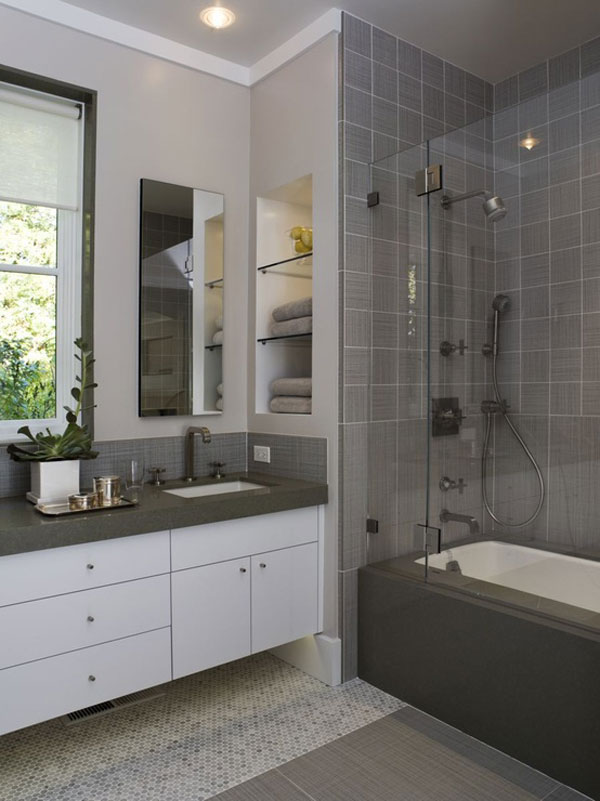 gray small bathroom decorating photo - Bath Designs For Small Bathrooms