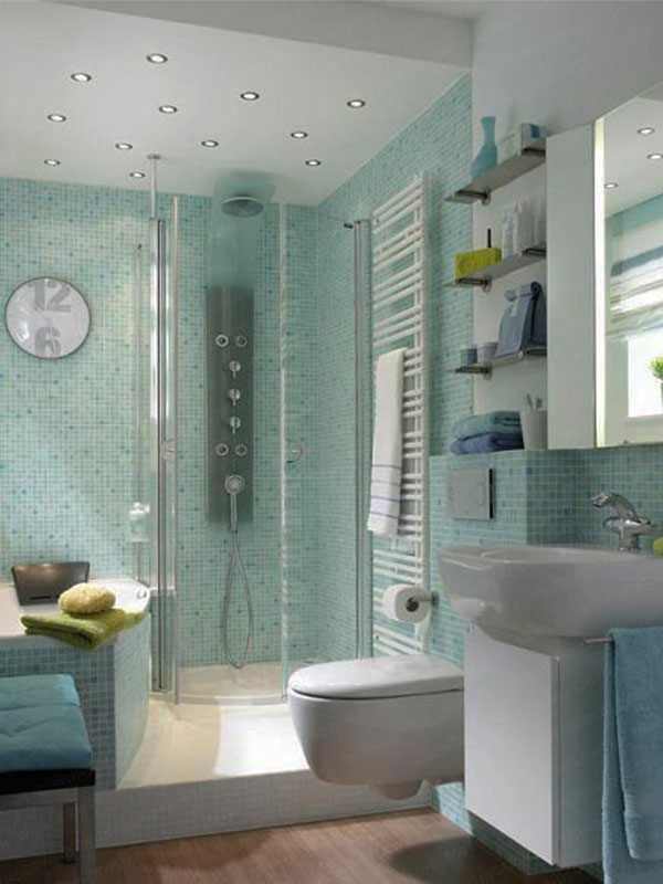 green small bathroom design - Small Bathroom Designs