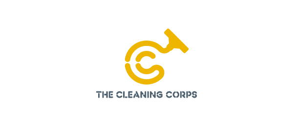 letter c logo design the cleaning corps