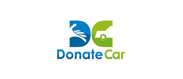 letter d logo design donate car