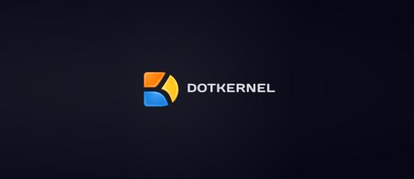 letter d logo design dot kernel
