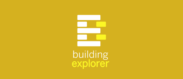 letter e logo design building explorer
