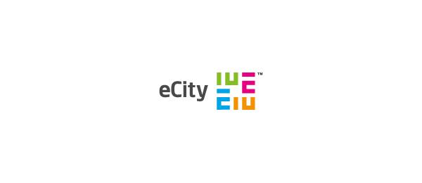 letter e logo design ecity