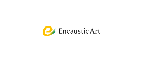 letter e logo design encaustic art