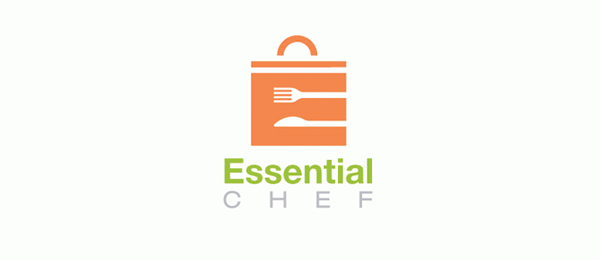 letter e logo design essential chef