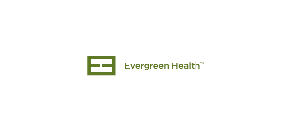 letter e logo design evergreen health