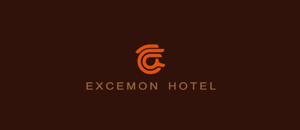 letter e logo design excemon hotel