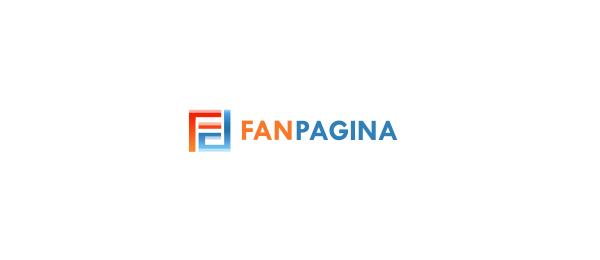 letter f logo design fan pagina