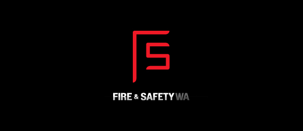 letter f logo design fire safety wa