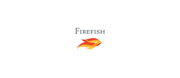 letter f logo design firefish