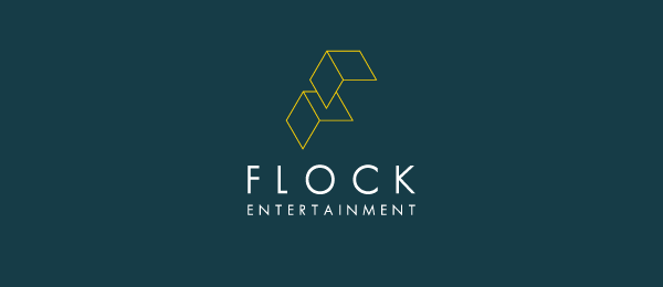 letter f logo design flock entertainment
