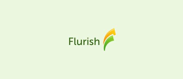 letter f logo design flurish