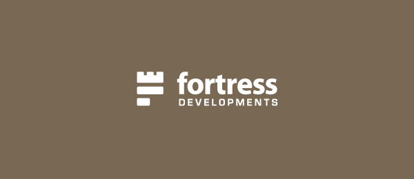 letter f logo design fortress