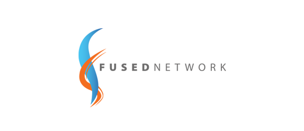 letter f logo design fused network