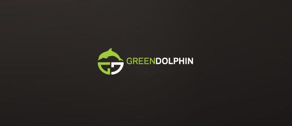 letter g logo design green dolphin