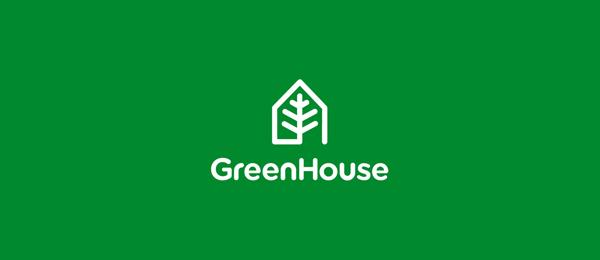 letter g logo design green house
