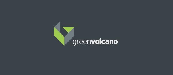 letter g logo design green volcano