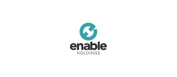 letter h logo design enable holdings