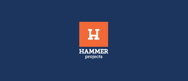 letter h logo design hammer projects