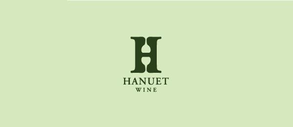 letter h logo design hanuet wine