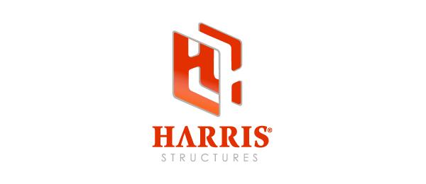 letter h logo design harris structures