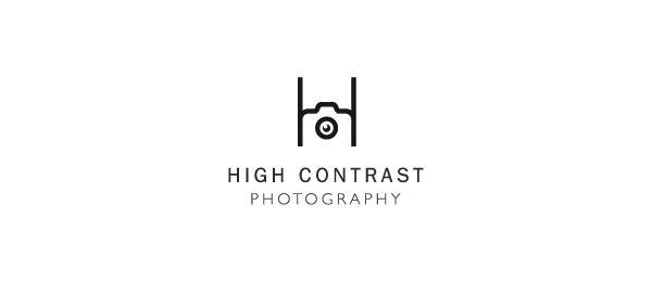 letter h logo design high contrast photography