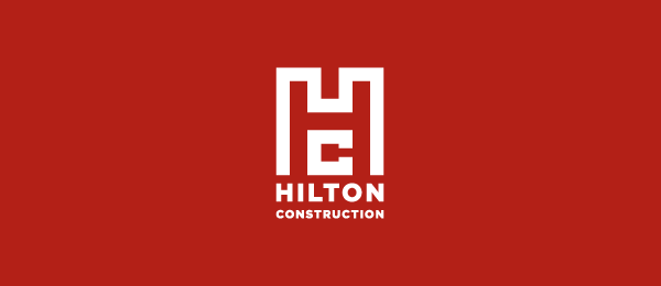 letter h logo design hilton construction