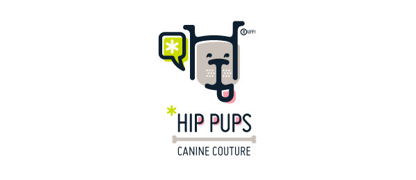 letter h logo design hip pups