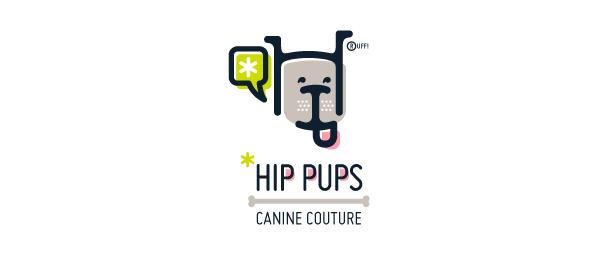 letter h logo design hip pups