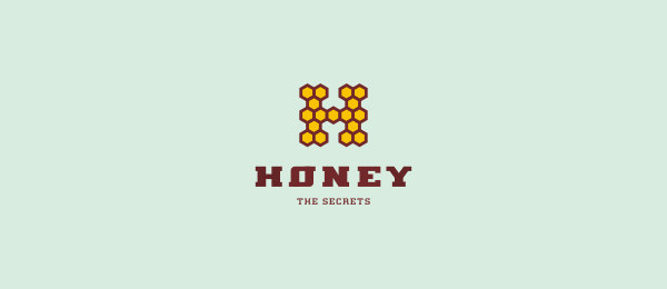 letter h logo design honey