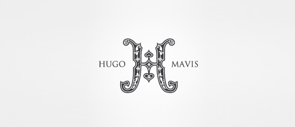 letter h logo design hugo and mavis