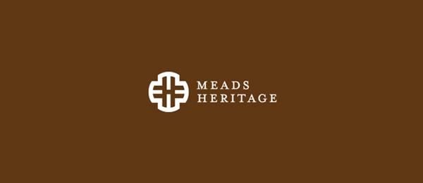 letter h logo design meads heritage road sign